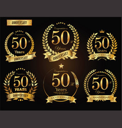 Anniversary golden laurel wreath 50 years vector
