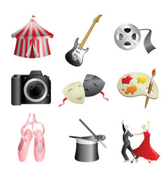 arts entertainment icons vector image