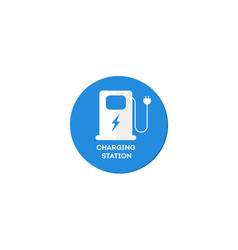 automobile vehicle eco charging station sign vector image