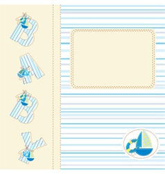 Baby shower with ship vector