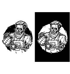 barista skull vector image
