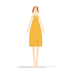 Beautiful woman in yellow dress sketch for your vector image
