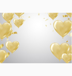 Big gold heart metallic balloon for birthday vector
