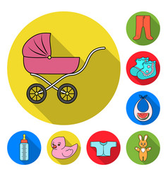 Birth of a baby flat icons in set collection for vector