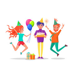 birthday party guy with cake and friends in hats vector image