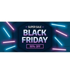 Black friday sale banner Glowing neon background vector