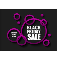 black friday sale banner with pink rings limited vector image