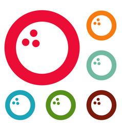 Bowling icons circle set vector