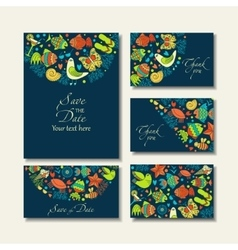 Business cards with images on a summer theme vector