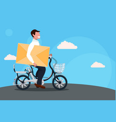 businessman cycling bicycle holding closed letter vector image