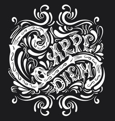 carpe diem typographical background with unique vector image