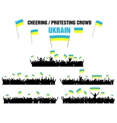 Cheering or Protesting Crowd Ukraine vector image