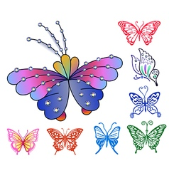 Colored butterfly logo set vector image vector image
