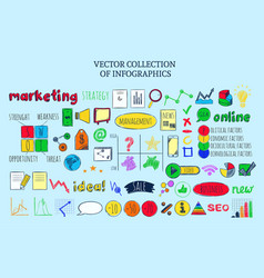 Colored infographic business sketch elements vector