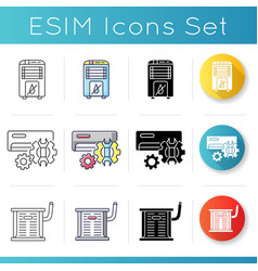 Conditioning systems icons set vector