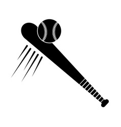 contour baseball with bat and ball icon vector image