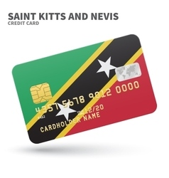 Credit card with Saint Kitts and Nevis flag vector