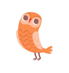 Cute cartoon orange owlet bird character vector