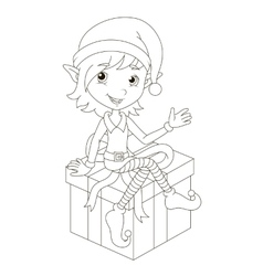 Cute Christmas elf sitting on gift vector