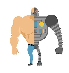 Cyborg Half human half robot Man with big muscles vector image