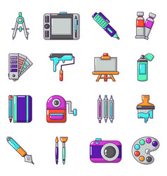 Design and drawing tools icons set cartoon style vector