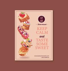 Dessert poster design with choux cream meringue vector