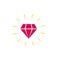 diamond icon isolated shiny brilliant flat vector image