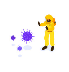 Doctor in protective coverall stop coronavirus vector