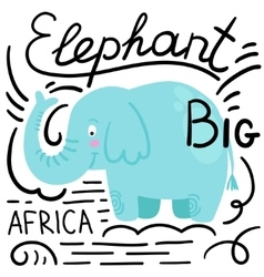 Elephant blue white background isolated vector