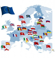 European country flags and map vector image
