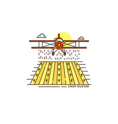 Farm crop duster above field line icon vector
