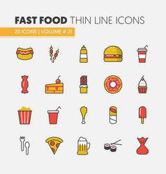 Fast food linear thin line icons set vector