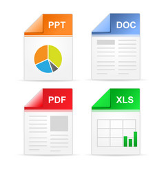 Filetype format icons - ppt doc pdf xls vector