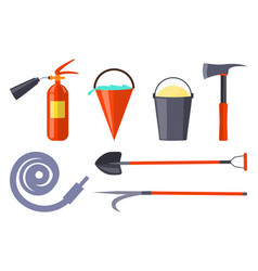 fire protection equipment collection on white vector image