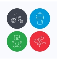 First bike bucket and bear toy icons vector