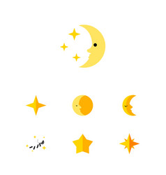 Flat icon bedtime set of asterisk lunar moon and vector