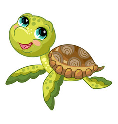 funny cute ocean turtle isolated vector image