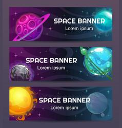 Futuristic modern horizontal space banners set vector