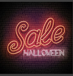 glow greeting card with halloween sale inscription vector image