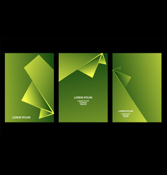 green abstract geometric backgrounds set vector image