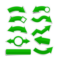 Green paper arrow stickers with shadows vector