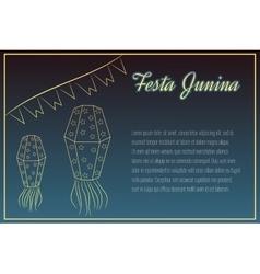 Hand drawin Festa Junina elements on night time vector image