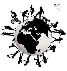 Happy children silhouettes playing over Earth vector image