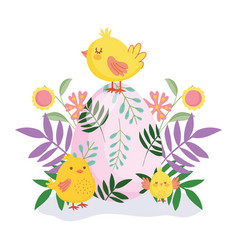Happy easter cute chickens colored egg flowers vector