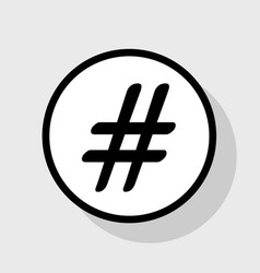 hashtag sign flat black icon vector image