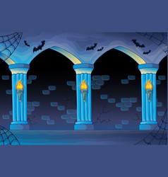 Haunted castle interior background vector