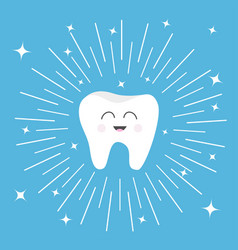 healthy tooth icon with smiling face cute cartoon vector image