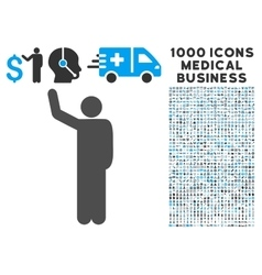 Hello Pose Icon with 1000 Medical Business vector