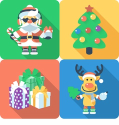 Icon flat design with Santa Claus and Santas reind vector