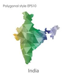 Isolated icon india map polygonal geometric vector